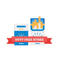 Flat icon of duty free cigarette packs at vector