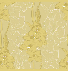 Flower seamless pattern from yellow gladiolus vector