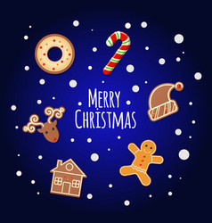 gingerbread cookies - merry christmas sign vector image
