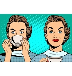 Girl with a Cup of tea or coffee vector image