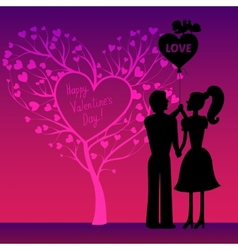 Greating Valentines card with couple vector