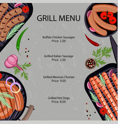 grilled sausages menu vector image vector image