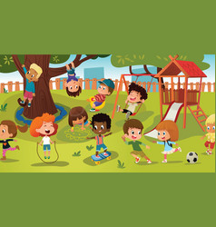 group of kids playing game on a public park or vector image