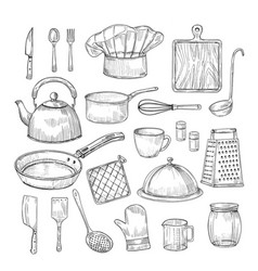 hand drawn cooking tools kitchen equipment vector image