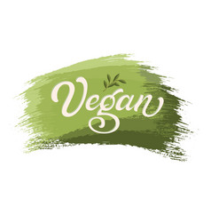 hand drawn lettering vegan on a paint brush stroke vector image