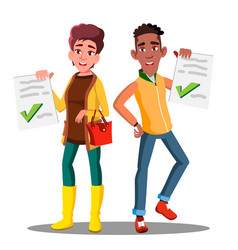 happy student holding paper with excellent test vector image