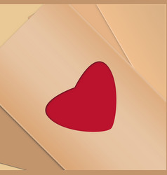 happy valentines day envelope card paper cut red vector image