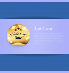 holiday sale golden label with stars best prices vector image