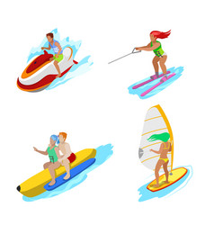 Isometric people on water activity woman surfer vector