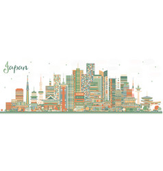 Japan city skyline with color buildings vector