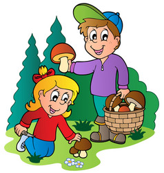 Kids picking up mushrooms vector