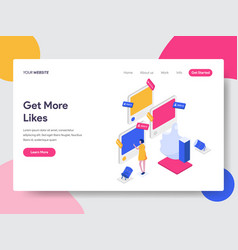 landing page template get more likes isometric vector image