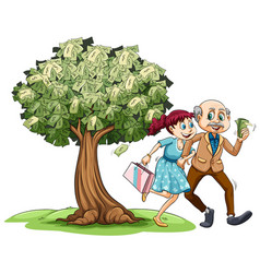 love couple and money on tree vector image