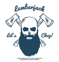 Lumberjack Skull with beard and Crossed Axes vector image