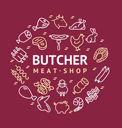meat butchery signs thin line round design vector image