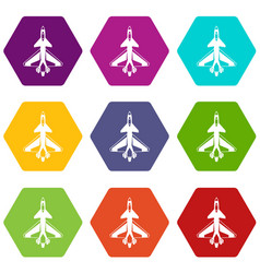 military fighter jet icon set color hexahedron vector image