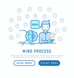 mind process concept with thin line icons vector image