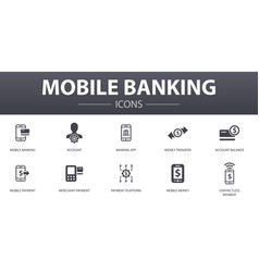 Mobile banking simple concept icons set contains vector