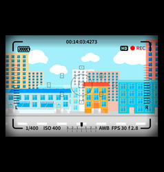Modern city view with reflex photo camera vector