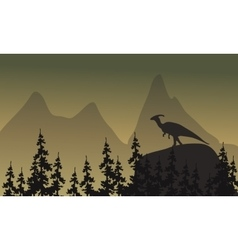 On cliff parasaurolophus silhouette vector