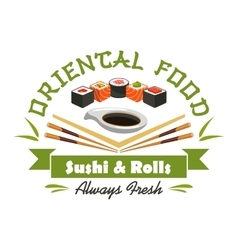 Oriental food sushi and rolls sign vector