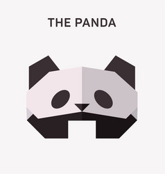 Panda animals origami flat vector
