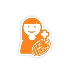 Paper sticker mother and son on white background vector