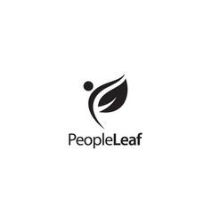 People leaf logo design concept vector