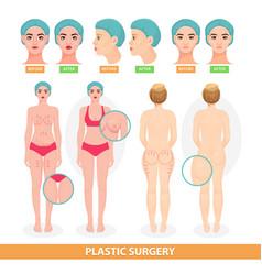Plastic surgery patient woman before vector