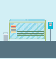 Public city transportation system item bus stop vector