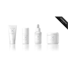 Realistic bottle set Cosmetic brand template vector image