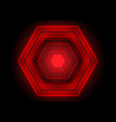 red light hexagon power on black vector image
