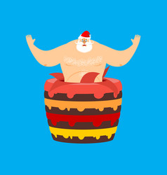 santa claus stripper from cake christmas vector image