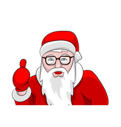 santa claus thumbs up portrait isolated on white vector image