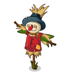Scarecrow made straw and grass in red clothes vector