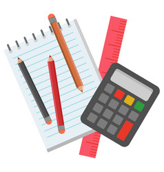 School stationery for pupils to study mathematics vector