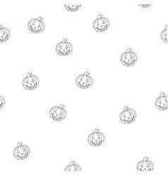 seamless cartoon halloween pattern with pumpkins vector image vector image