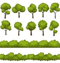 Set funny cartoon trees and green bushes vector