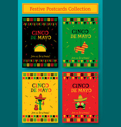 Set of cinco de mayo festive party poster template vector