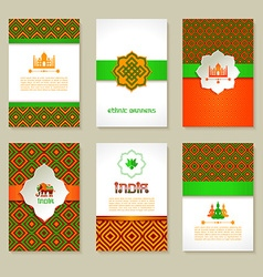 Set of ethnic indian banners in national colors vector