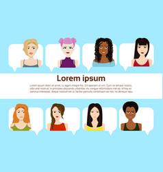 set of female faces isolated on template vector image