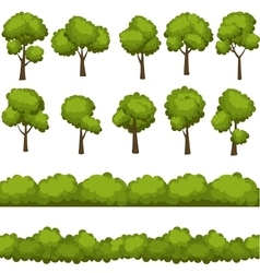 Set of funny cartoon trees and green bushes vector