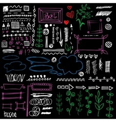 Set of graphic elements in doodle style eps8 vector