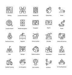 Set of map and navigation line icons vector