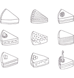 Set of nine fancy cakes vector