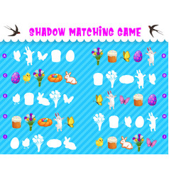 Shadow matching kids game with easter characters vector
