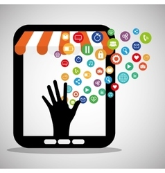 Shopping online store virtual technology vector