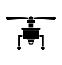 Silhouette drone with camera and one airscrew vector