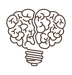Silhouette light bulb flat icon in brain shape vector