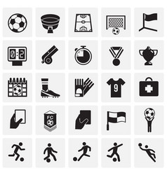 Soccer icons set on squares background for graphic vector